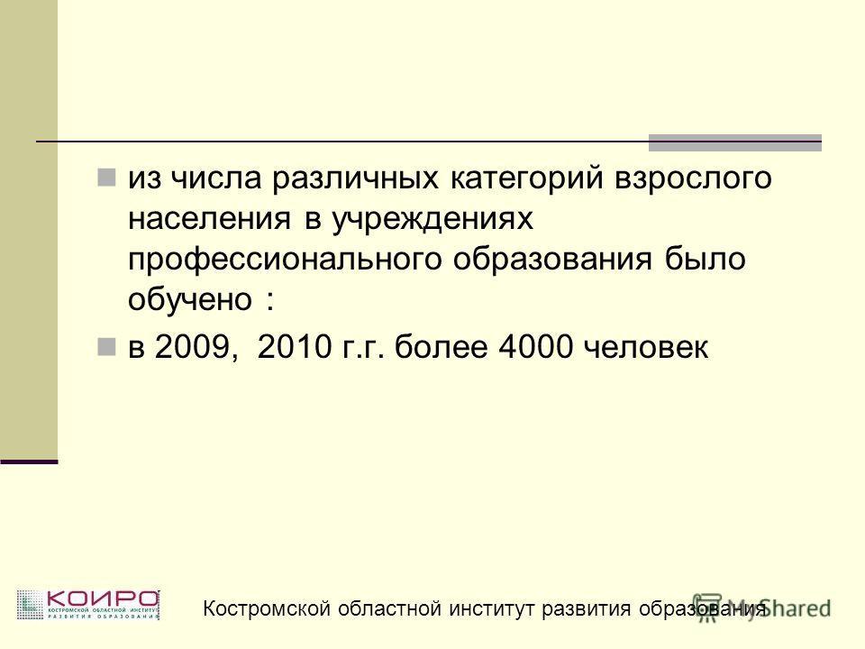 из числа различных категорий взрослого населения в учреждениях профессионального образования было обучено : в 2009, 2010 г.г. более 4000 человек Костромской областной институт развития образования