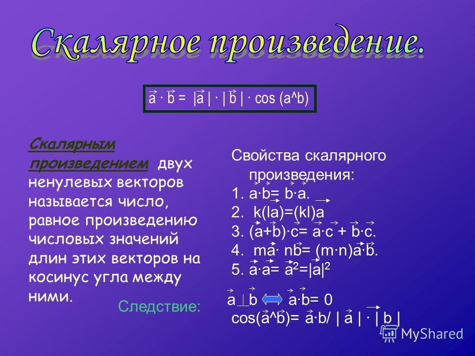 Скалярным произведением двух ненулевых векторов называется число, равное произведению числовых значений длин этих векторов на косинус угла между ними. a · b = |а | · | b | · cos (a^b) a b a·b= 0 cos(a^b)= a·b/ | a | · | b | Следствие: Свойства скаляр