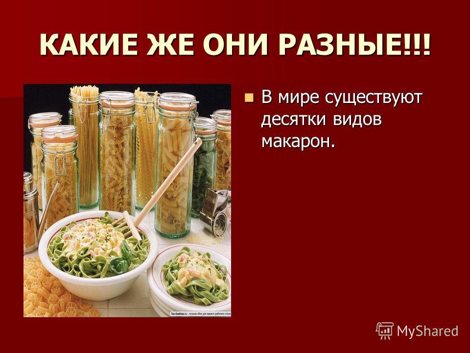 КАКИЕ ЖЕ ОНИ РАЗНЫЕ!!! В мире существуют десятки видов макарон. В мире существуют десятки видов макарон.