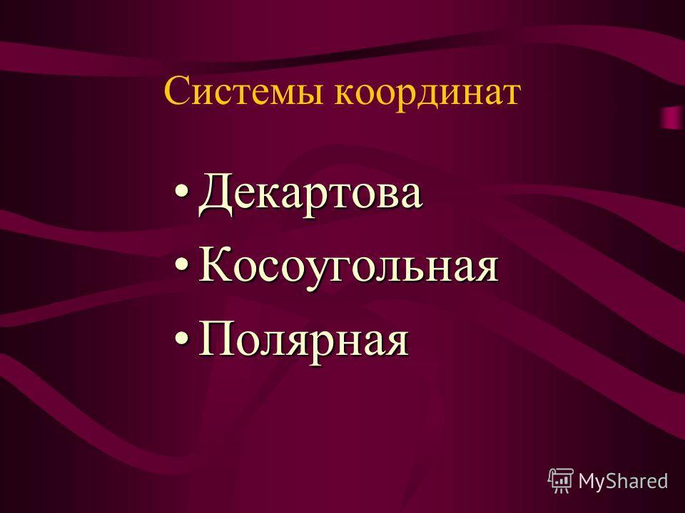 Системы координат ДекартоваДекартова КосоугольнаяКосоугольная ПолярнаяПолярная
