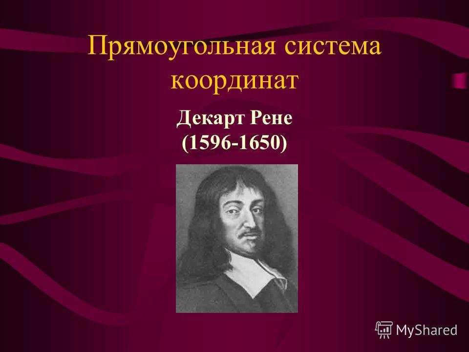 Прямоугольная система координат Декарт Рене (1596-1650)