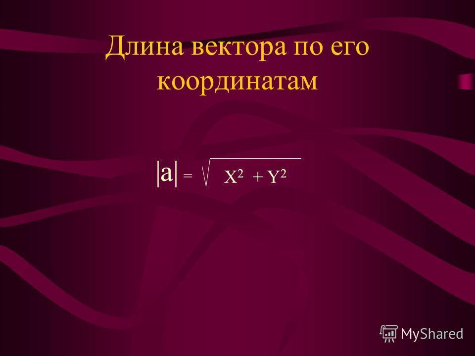 Длина вектора по его координатам  a  = X 2 + Y 2