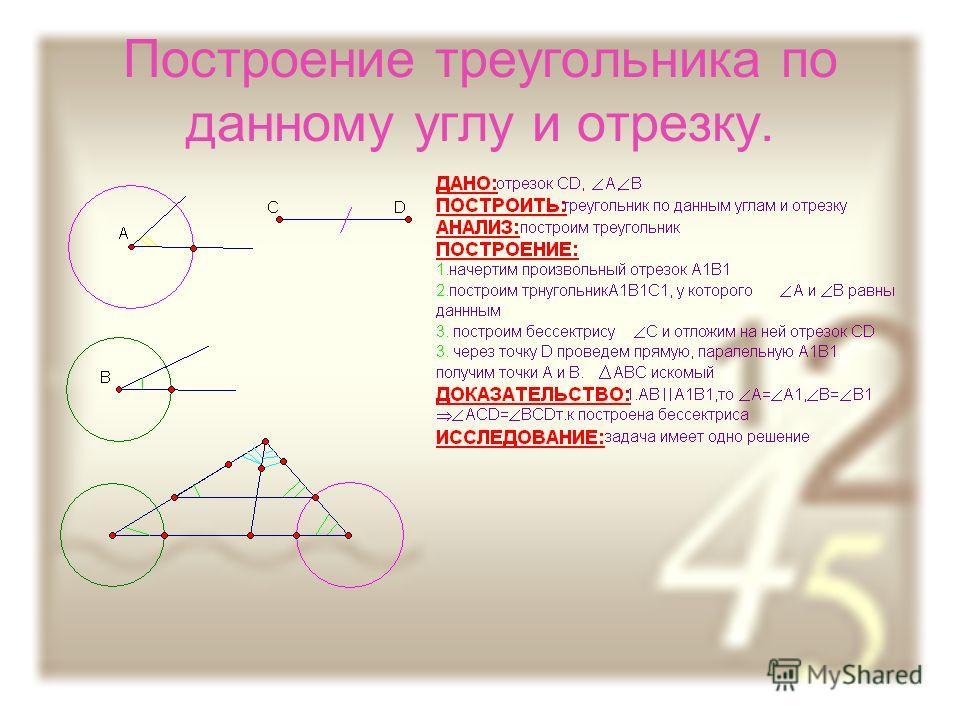 Построение треугольника по данному углу и отрезку.