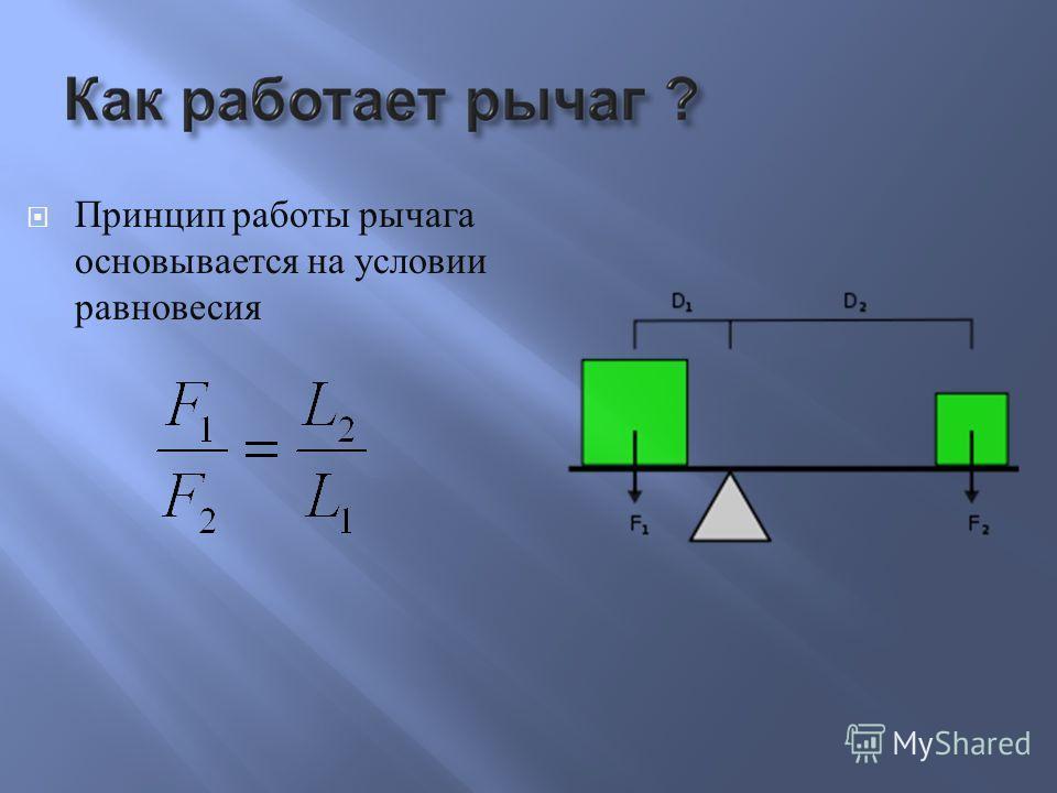 Принцип работы рычага основывается на условии равновесия