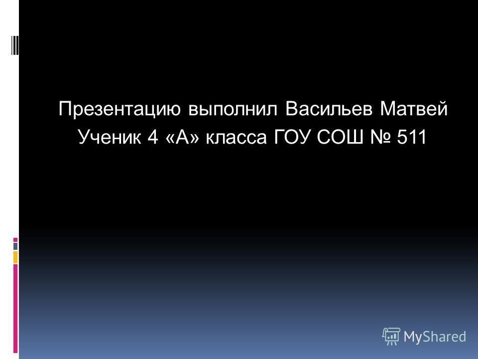 Презентацию выполнил Васильев Матвей Ученик 4 «А» класса ГОУ СОШ 511