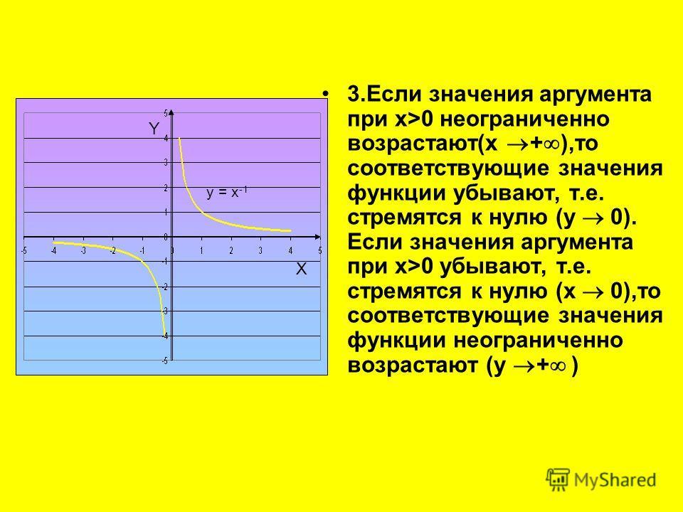 3.Если значения аргумента при x>0 неограниченно возрастают(x + ),то соответствующие значения функции убывают, т.е. стремятся к нулю (y 0). Если значения аргумента при x>0 убывают, т.е. стремятся к нулю (x 0),то соответствующие значения функции неогра