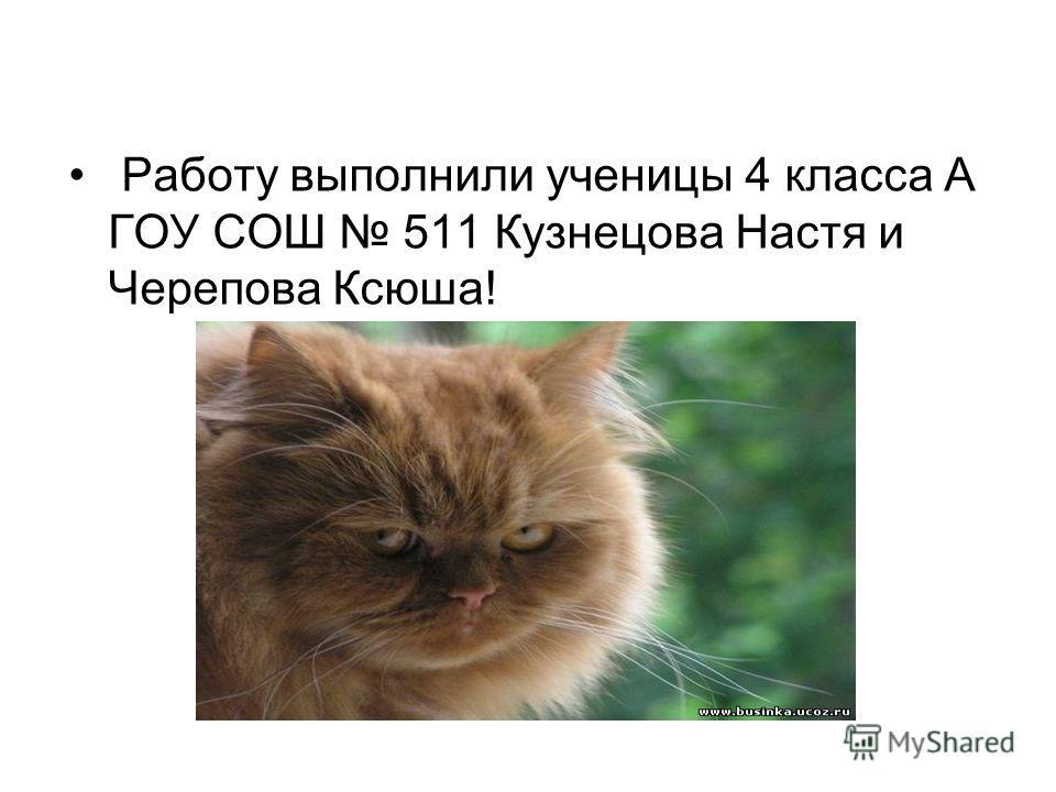 Работу выполнили ученицы 4 класса А ГОУ СОШ 511 Кузнецова Настя и Черепова Ксюша!