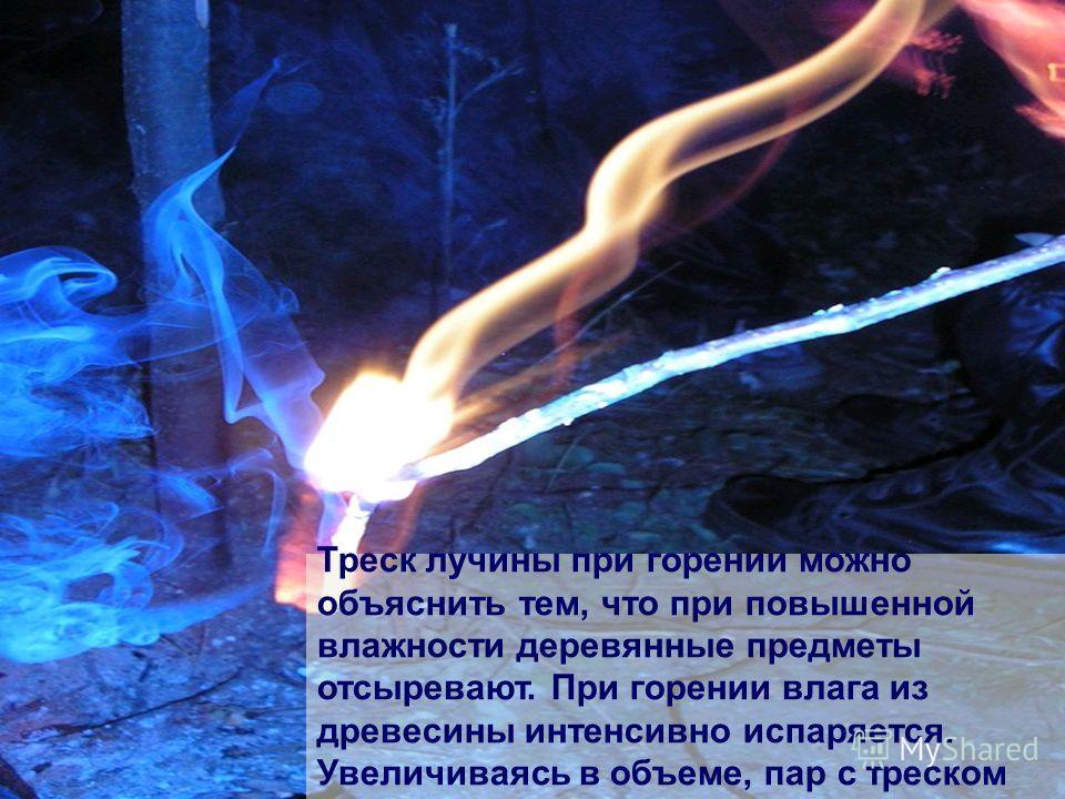 Треск лучины при горении можно объяснить тем, что при повышенной влажности деревянные предметы отсыревают. При горении влага из древесины интенсивно испаряется. Увеличиваясь в объеме, пар с треском разрывает древесные волокна.