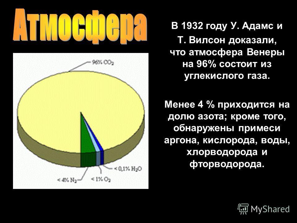 В 1932 году У. Адамс и Т. Вилсон доказали, что атмосфера Венеры на 96% состоит из углекислого газа. Менее 4 % приходится на долю азота; кроме того, обнаружены примеси аргона, кислорода, воды, хлорводорода и фторводорода.