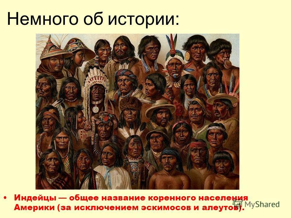Немного об истории: Индейцы общее название коренного населения Америки (за исключением эскимосов и алеутов).