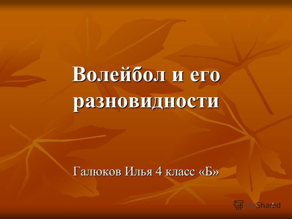 1 Волейбол и его разновидности Галюков Илья 4 класс «Б»