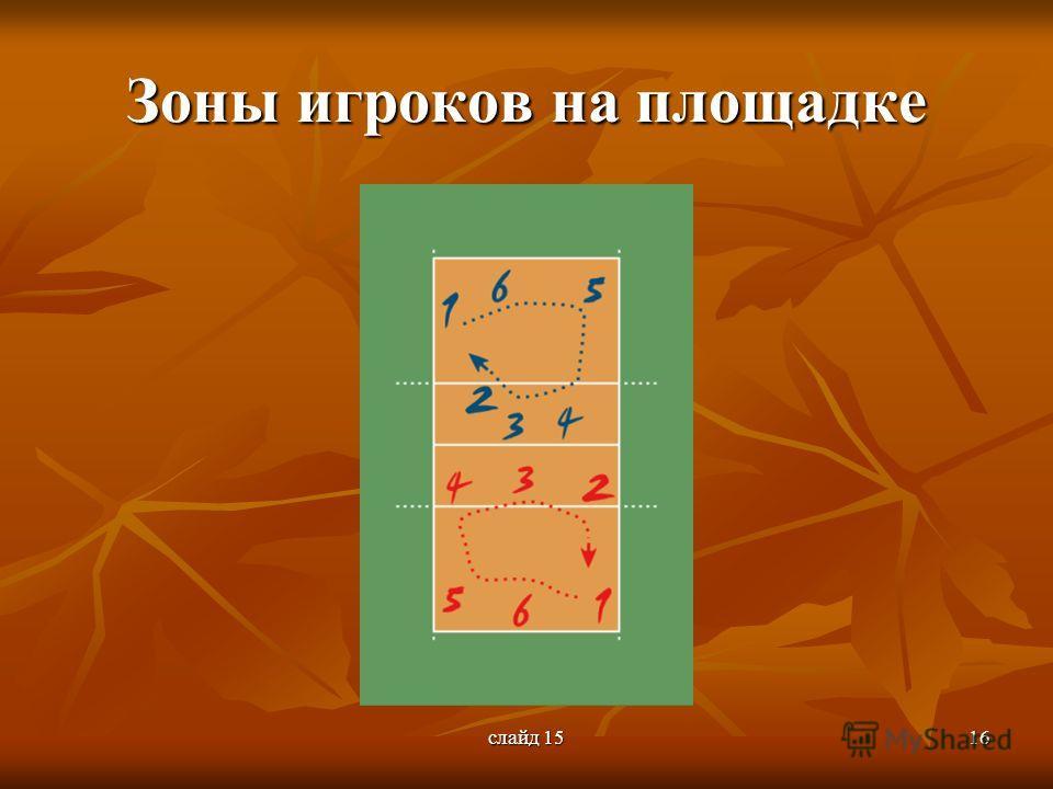 слайд 1516 Зоны игроков на площадке