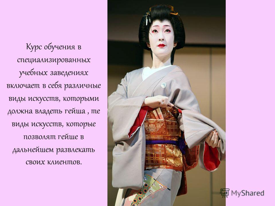 Курс обучения в специализированных учебных заведениях включает в себя различные виды искусств, которыми должна владеть гейша, те виды искусств, которые позволят гейше в дальнейшем развлекать своих клиентов.