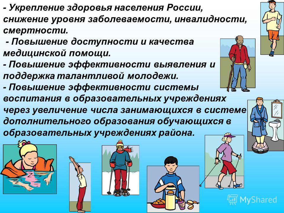 - Укрепление здоровья населения России, снижение уровня заболеваемости, инвалидности, смертности. - Повышение доступности и качества медицинской помощи. - Повышение эффективности выявления и поддержка талантливой молодежи. - Повышение эффективности с
