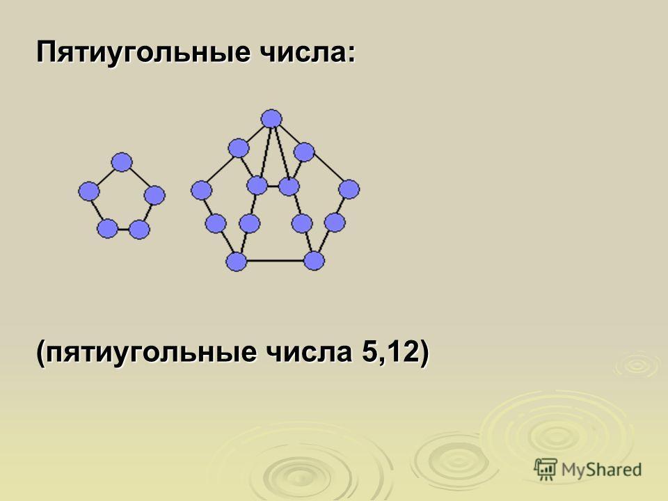 Пятиугольные числа: (пятиугольные числа 5,12)