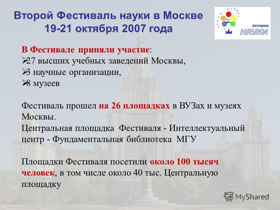 Второй Фестиваль науки в Москве 19-21 октября 2007 года В Фестивале приняли участие: 27 высших учебных заведений Москвы, 3 научные организации, 8 музеев Фестиваль прошел на 26 площадках в ВУЗах и музеях Москвы. Центральная площадка Фестиваля - Интелл