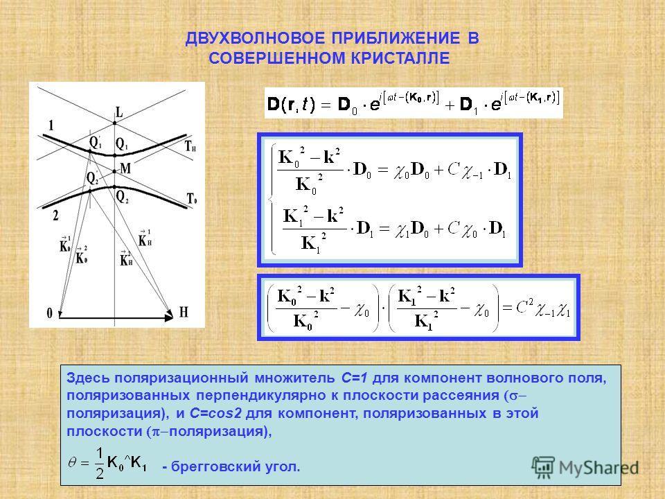 ДВУХВОЛНОВОЕ ПРИБЛИЖЕНИЕ В СОВЕРШЕННОМ КРИСТАЛЛЕ Здесь поляризационный множитель C=1 для компонент волнового поля, поляризованных перпендикулярно к плоскости рассеяния поляризация), и C=cos2 для компонент, поляризованных в этой плоскости поляризация)