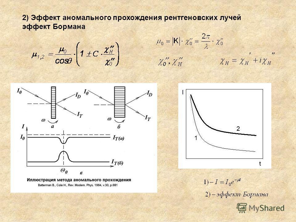 2) Эффект аномального прохождения рентгеновских лучей эффект Бормана