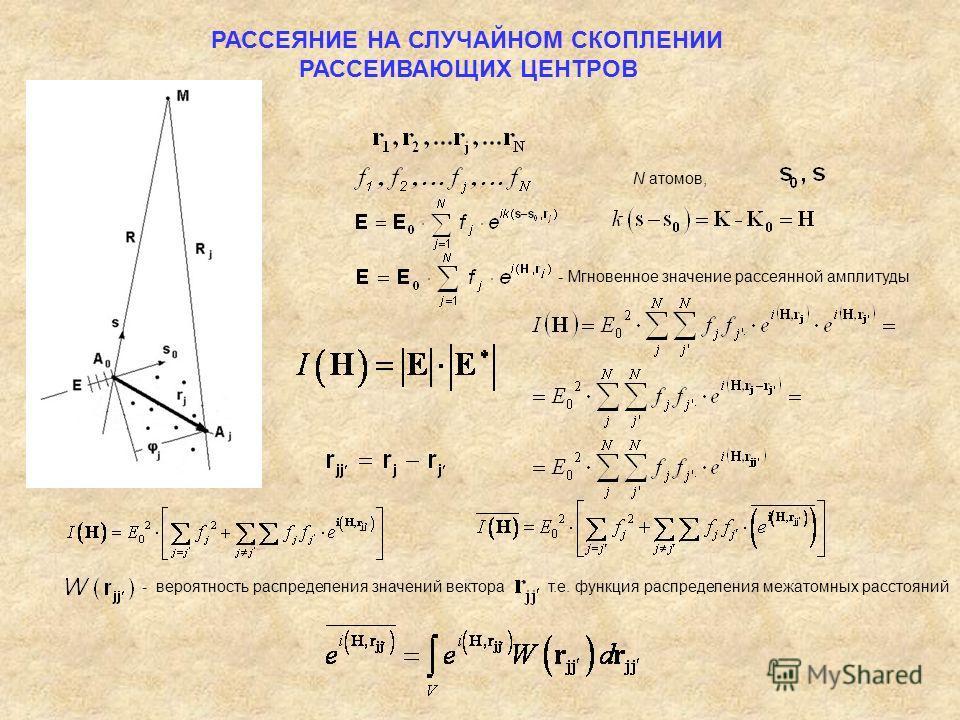 РАССЕЯНИЕ НА СЛУЧАЙНОМ СКОПЛЕНИИ РАССЕИВАЮЩИХ ЦЕНТРОВ N атомов, - вероятность распределения значений вектора т.е. функция распределения межатомных расстояний - Мгновенное значение рассеянной амплитуды
