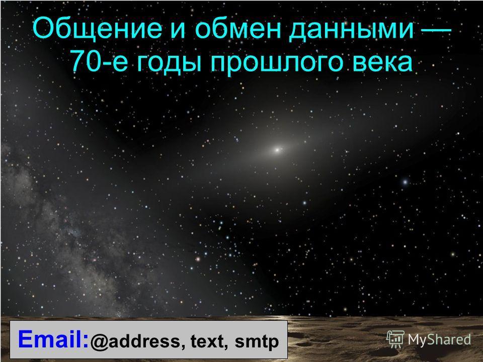 Email: @address, text, smtp Общение и обмен данными 70-е годы прошлого века
