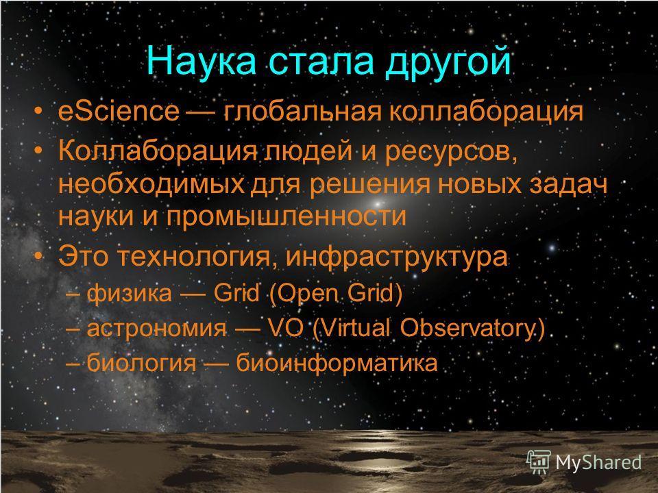 Наука стала другой eScience глобальная коллаборация Коллаборация людей и ресурсов, необходимых для решения новых задач науки и промышленности Это технология, инфраструктура –физика Grid (Open Grid) –астрономия VO (Virtual Observatory) –биология биоин