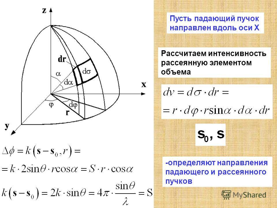 Пусть падающий пучок направлен вдоль оси X Рассчитаем интенсивность рассеянную элементом объема -определяют направления падающего и рассеянного пучков