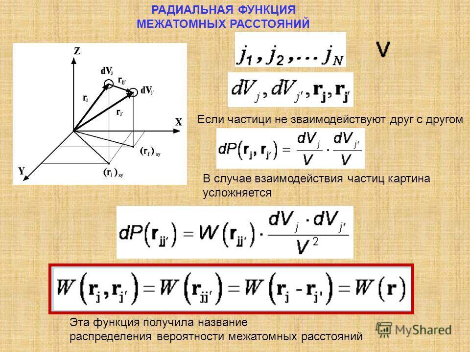 РАДИАЛЬНАЯ ФУНКЦИЯ МЕЖАТОМНЫХ РАССТОЯНИЙ Эта функция получила название распределения вероятности межатомных расстояний Если частици не зваимодействуют друг с другом В случае взаимодействия частиц картина усложняется