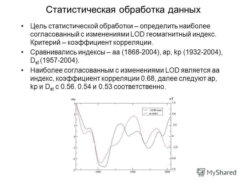 Статистическая обработка данных Цель статистической обработки – определить наиболее согласованный с изменениями LOD геомагнитный индекс. Критерий – коэффициент корреляции. Сравнивались индексы – aa (1868-2004), ap, kp (1932-2004), D st (1957-2004). Н