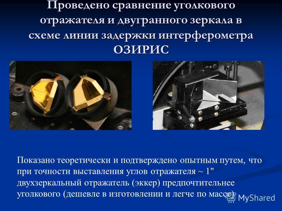 Проведено сравнение уголкового отражателя и двугранного зеркала в схеме линии задержки интерферометра ОЗИРИС Показано теоретически и подтверждено опытным путем, что при точности выставления углов отражателя ~ 1