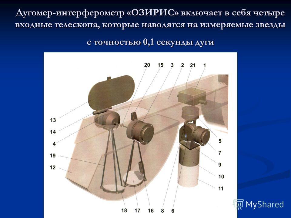 Дугомер-интерферометр «ОЗИРИС» включает в себя четыре входные телескопа, которые наводятся на измеряемые звезды с точностью 0,1 секунды дуги