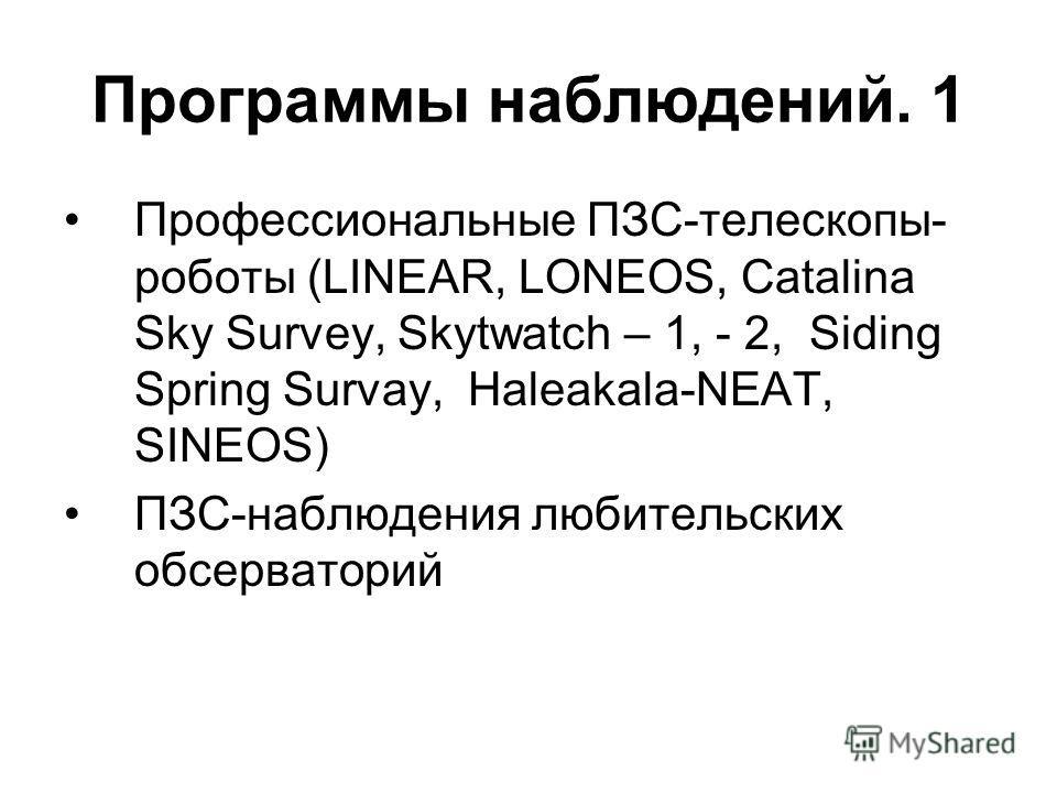 Программы наблюдений. 1 Профессиональные ПЗС-телескопы- роботы (LINEAR, LONEOS, Catalina Sky Survey, Skytwatch – 1, - 2, Siding Spring Survay, Haleakala-NEAT, SINEOS) ПЗС-наблюдения любительских обсерваторий