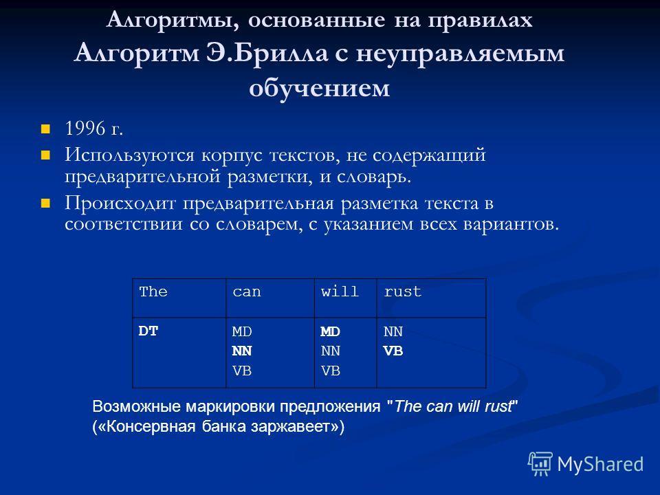 1996 г. Используются корпус текстов, не содержащий предварительной разметки, и словарь. Происходит предварительная разметка текста в соответствии со словарем, с указанием всех вариантов. Thecanwillrust DTMD NN VB MD NN VB NN VB Возможные маркировки п