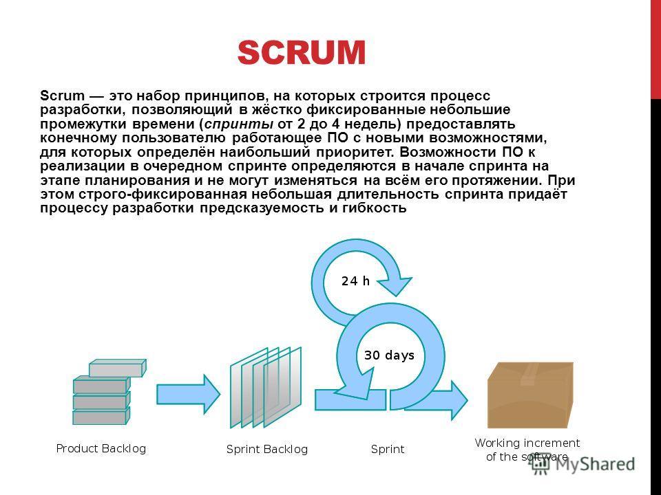 SCRUM Scrum это набор принципов, на которых строится процесс разработки, позволяющий в жёстко фиксированные небольшие промежутки времени (спринты от 2 до 4 недель) предоставлять конечному пользователю работающее ПО с новыми возможностями, для которых
