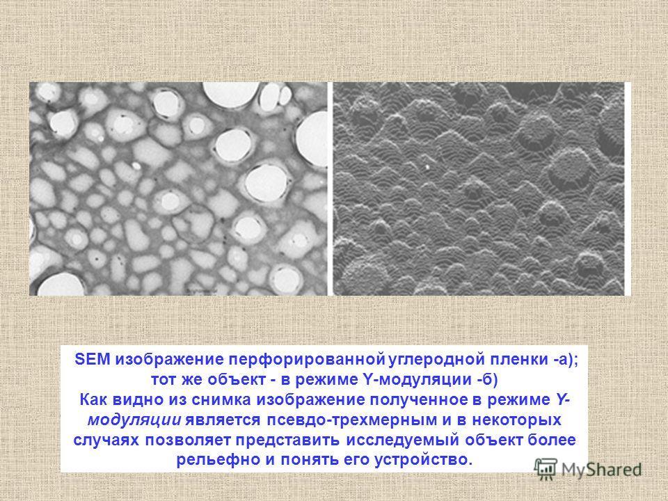 SEM изображение перфорированной углеродной пленки -а); тот же объект - в режиме Y-модуляции -б) Как видно из снимка изображение полученное в режиме Y- модуляции является псевдо-трехмерным и в некоторых случаях позволяет представить исследуемый объект