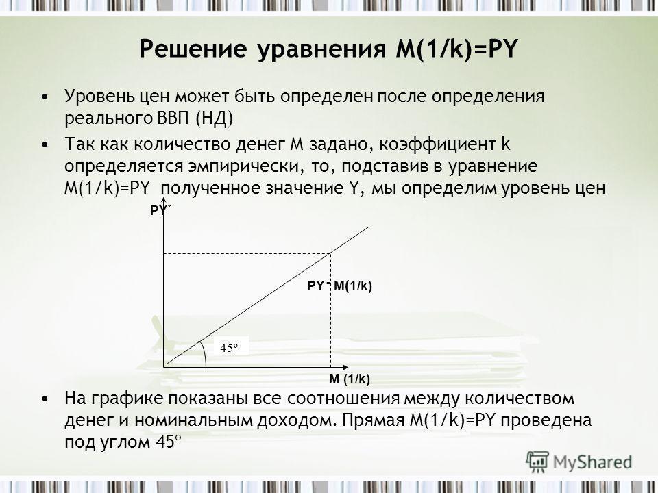 Решение уравнения M(1/k)=PY Уровень цен может быть определен после определения реального ВВП (НД) Так как количество денег М задано, коэффициент k определяется эмпирически, то, подставив в уравнение M(1/k)=PY полученное значение Y, мы определим урове