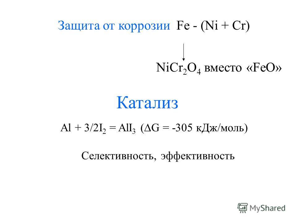 Защита от коррозии Fe - (Ni + Cr) NiCr 2 O 4 вместо «FeO» Катализ Al + 3/2I 2 = AlI 3 ( G = -305 кДж/моль) Селективность, эффективность