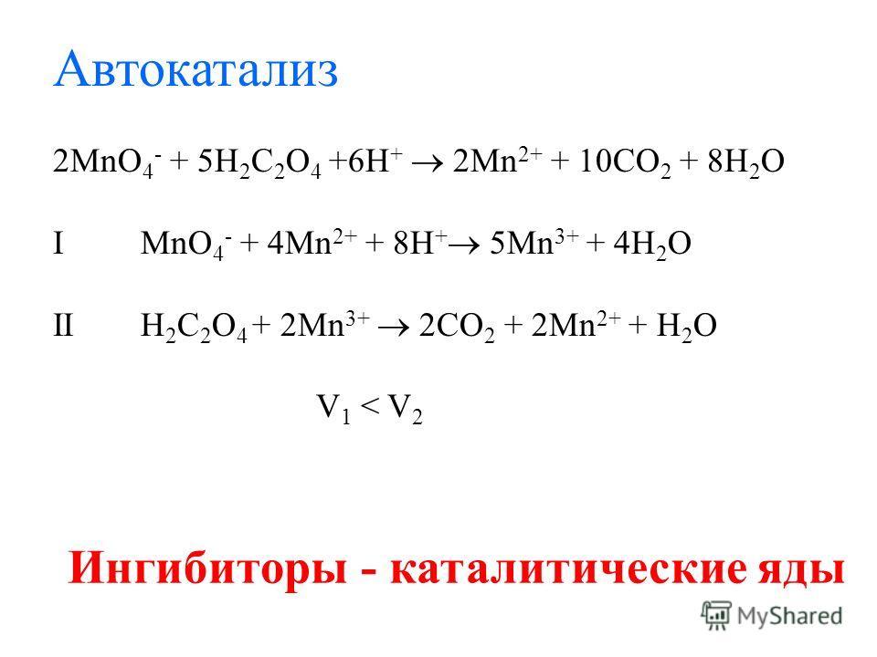Автокатализ 2MnO 4 - + 5H 2 C 2 O 4 +6H + 2Mn 2+ + 10CO 2 + 8H 2 O I MnO 4 - + 4Mn 2+ + 8H + 5Mn 3+ + 4H 2 O IIH 2 C 2 O 4 + 2Mn 3+ 2CO 2 + 2Mn 2+ + H 2 O V 1 < V 2 Ингибиторы - каталитические яды