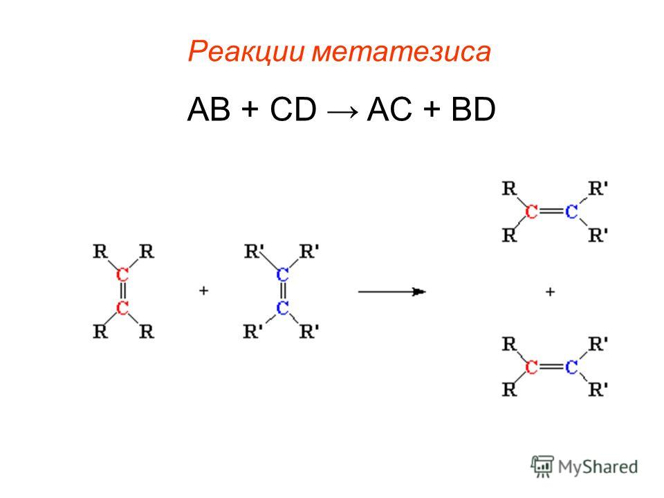 Реакции метатезиса AB + CD AC + BD