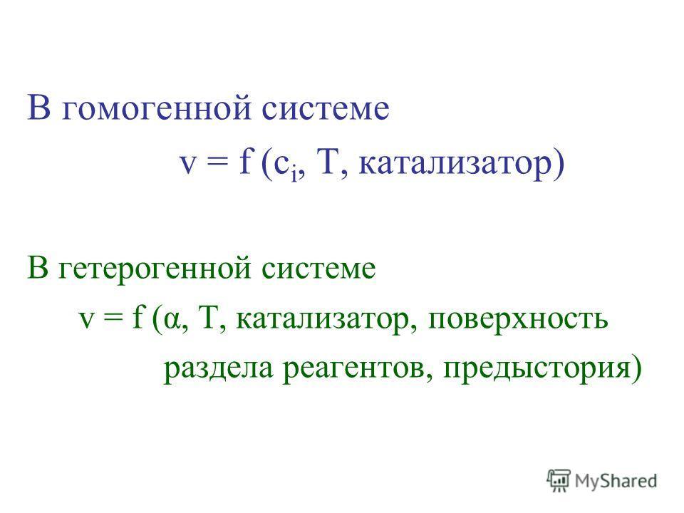 В гомогенной системе v = f (c i, T, катализатор) В гетерогенной системе v = f (α, T, катализатор, поверхность раздела реагентов, предыстория)