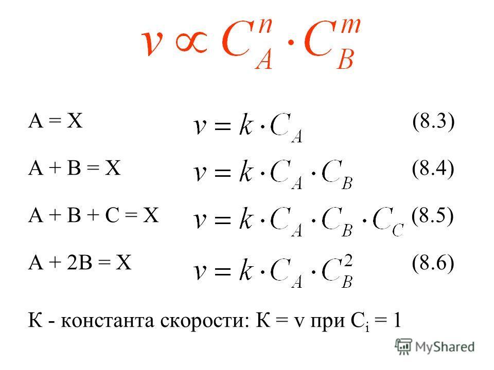 А = Х (8.3) А + В = Х (8.4) А + В + С = Х (8.5) А + 2В = Х (8.6) К - константа скорости: К = v при С i = 1