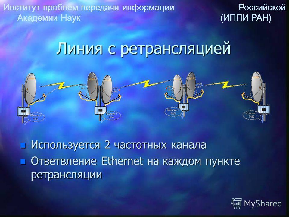 Институт проблем передачи информации Российской Академии Наук (ИППИ РАН) Линия с ретрансляцией n Используется 2 частотных канала n Ответвление Ethernet на каждом пункте ретрансляции