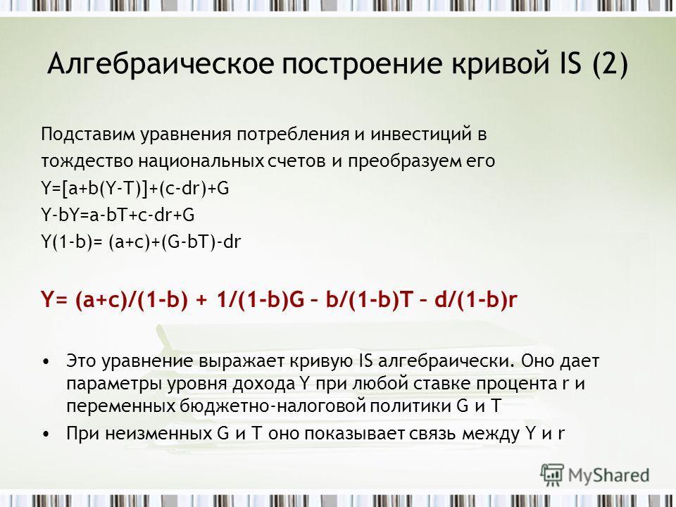 Алгебраическое построение кривой IS (2) Подставим уравнения потребления и инвестиций в тождество национальных счетов и преобразуем его Y=[a+b(Y-T)]+(c-dr)+G Y-bY=a-bT+c-dr+G Y(1-b)= (a+c)+(G-bT)-dr Y= (a+c)/(1-b) + 1/(1-b)G – b/(1-b)T – d/(1-b)r Это