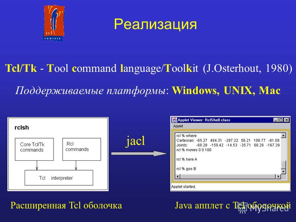 Реализация Tcl/Tk - Tool command language/Toolkit (J.Osterhout, 1980) jacl Расширенная Tcl оболочкаJava апплет с Tcl оболочкой Поддерживаемые платформы: Windows, UNIX, Mac