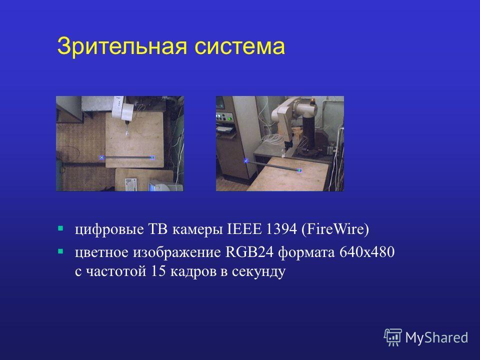 цифровые ТВ камеры IEEE 1394 (FireWire) цветное изображение RGB24 формата 640х480 с частотой 15 кадров в секунду Зрительная система