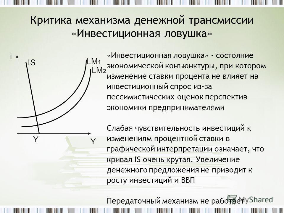 Критика механизма денежной трансмиссии «Инвестиционная ловушка» «Инвестиционная ловушка» - состояние экономической конъюнктуры, при котором изменение ставки процента не влияет на инвестиционный спрос из-за пессимистических оценок перспектив экономики