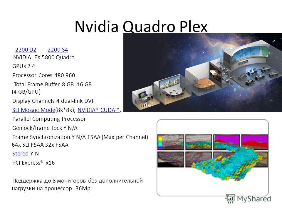 Nvidia Quadro Plex 2200 D2 2200 S4 NVIDIA FX 5800 Quadro2200 D22200 S4 GPUs 2 4 Processor Cores 480 960 Total Frame Buffer 8 GB 16 GB (4 GB/GPU) Display Channels 4 dual-link DVI SLI Mosaic ModeSLI Mosaic Mode(8k*8k), NVIDIA® CUDA,NVIDIA® CUDA Paralle