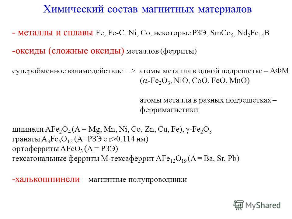 Химический состав магнитных материалов - металлы и сплавы Fe, Fe-C, Ni, Co, некоторые РЗЭ, SmCo 5, Nd 2 Fe 14 B -оксиды (сложные оксиды) металлов (ферриты) суперобменное взаимодействие => атомы металла в одной подрешетке – АФМ ( -Fe 2 O 3, NiO, CoO,