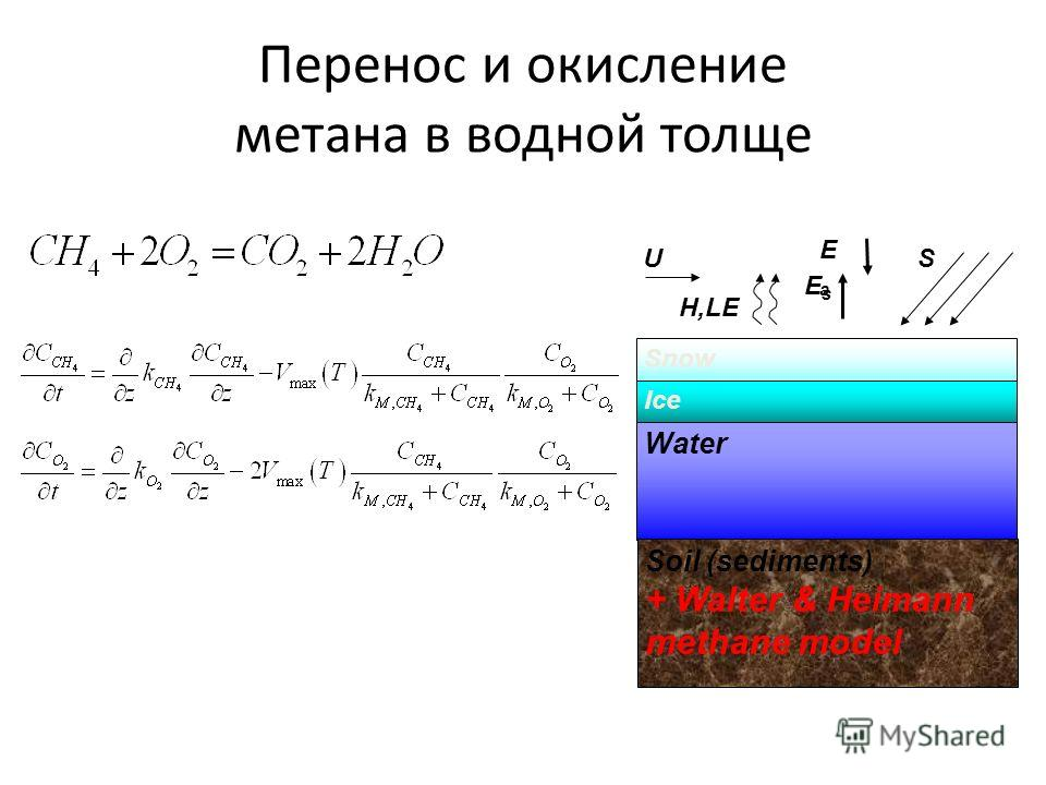 Перенос и окисление метана в водной толще Snow Ice Water Soil (sediments) + Walter & Heimann methane model U H,LE EsEs EaEa S
