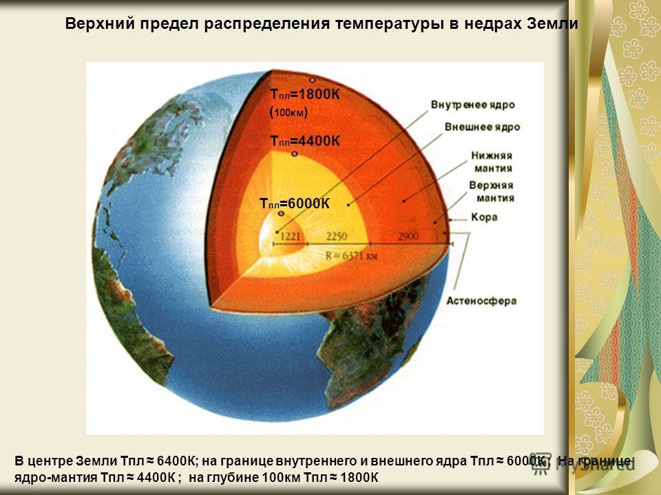 T пл =6000К T пл =4400К T пл =1800К ( 100км ) Верхний предел распределения температуры в недрах Земли В центре Земли Тпл 6400К; на границе внутреннего и внешнего ядра Тпл 6000К ; На границе ядро-мантия Тпл 4400К ; на глубине 100км Тпл 1800К