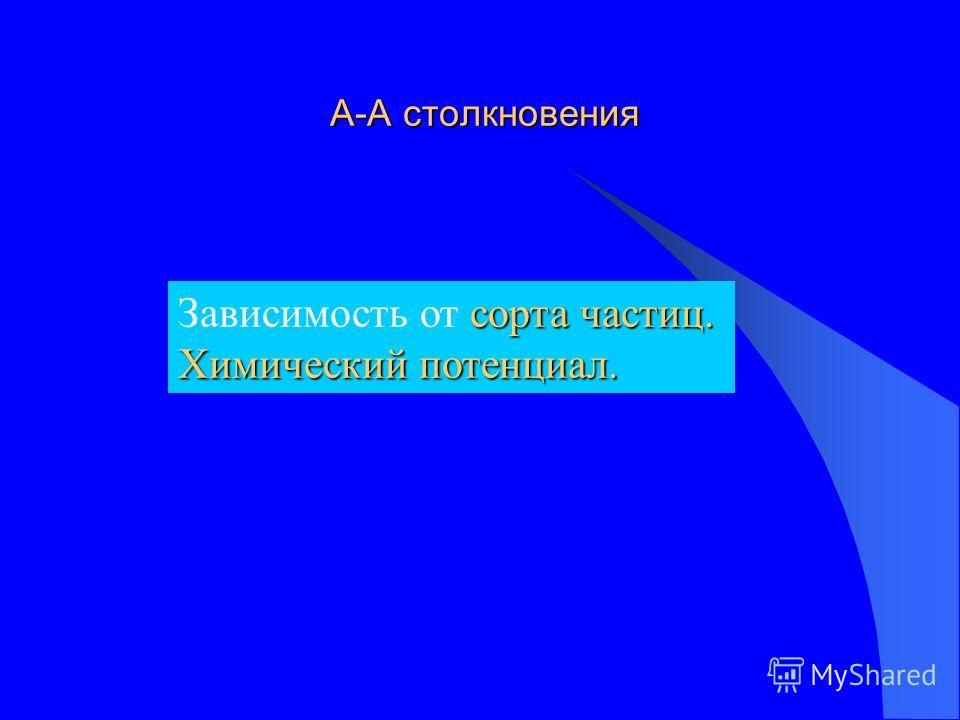 А-А столкновения А-А столкновения сорта частиц. Зависимость от сорта частиц. Химический потенциал.